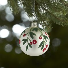 Crate & Barrel Mistletoe White Ball Ornament ($8.95) ❤ liked on Polyvore featuring home, home decor, holiday decorations, christmas, painted christmas ornaments, glass ball christmas ornaments, white christmas ornaments, glass christmas ornaments and christmas ball ornaments Pink Christmas Decorations, Painted Christmas Ornaments, Hand Painted Ornaments, Christmas Tree Ornaments, Christmas Holidays, Glass Christmas Balls, Glitter Ornaments, Ball Ornaments, Christmas Projects