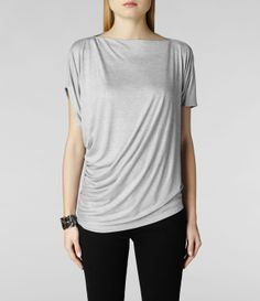 Womens Pia Jersey Top (Pale Grey) | ALLSAINTS.com