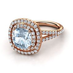 Cushion Aquamarine 14K White Gold Ring with Diamond - Lillian Ring (8mm gem) | Gemvara