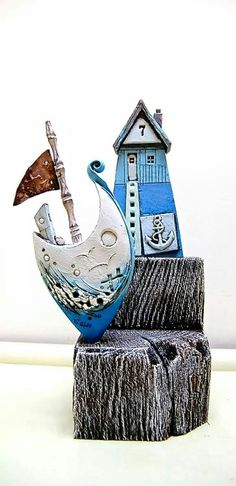 Love mark smiths work Ceramic Houses, Ceramic Figures, Ceramic Art, Slab Ceramics, Clay Fish, Mark Smith, Sea Crafts, Hand Built Pottery, Ceramic Techniques