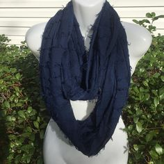 HP  11.15.15 • Navy Frayed Infinity Scarf • NWT! light weight :) Accessories Scarves & Wraps