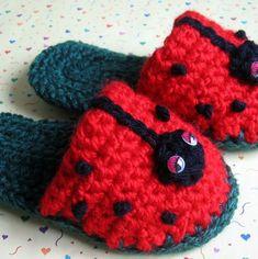 Toddler Crochet Slipper Pattern Lady Bug Fun ePattern PDF