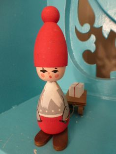 Sweet Vintage Christmas Swedish Wooden Tomte Figurine