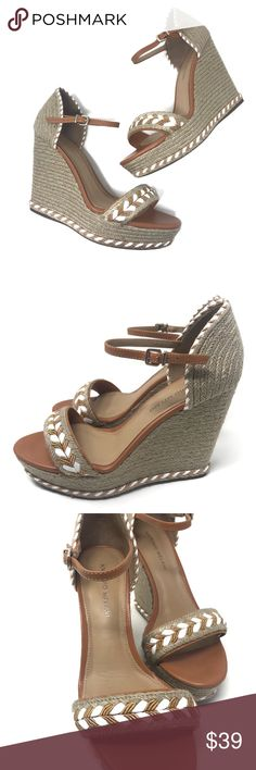 Spring wedge sandals 8.5 Antonio melani These wedges are perfect for spring and easter 🐣  They are super neutral, and dress up any outfit! They are extremely comfortable, and would be perfect for walking around Coachella! Please see all photos for condition! These are a size 8.5! ANTONIO MELANI Shoes Wedges