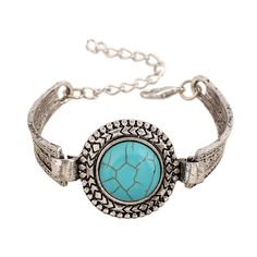 1pc Hot Vintage Tibetan Bracelet pulseras mujer Round Cuff Ethnic ImitationTurquoise Retro Style Jewelry Cocktail New Adjustable #Affiliate