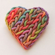 Rainbow Brooch knit out of Fimo! Gorgeous & cool!