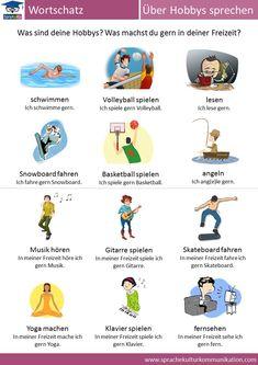 """In dieser Übersicht finden Sie unseren Wortschatz zum Thema """"Hobbys & Freizeitaktivitäten"""". Here you can find important vocabulary to talk about hobbies."""