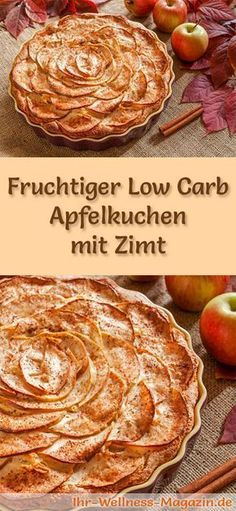 Rezept für einen fruchtigen Low Carb Apfelkuchen mit Zimt - kohlenhydratarm, kalorienreduziert, ohne Zucker und Getreidemehl