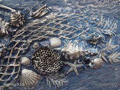 Картина панно рисунок Коллаж Морской коллаж в технике терра Гипс Материал природный Ракушки Сетка фото 4