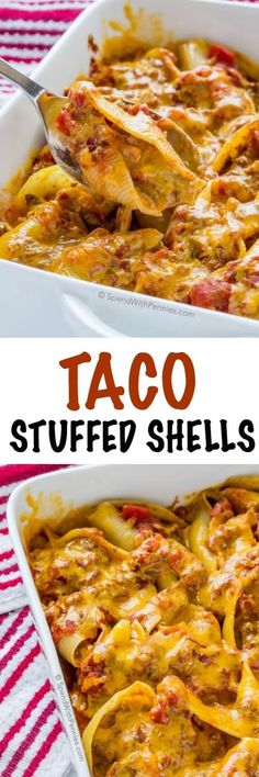Taco Stuffed Pasta Shells. Jumbo pasta shells filled with a creamy seasoned beef & vegetable mixture and topped with cheese. This is the perfect weeknight meal and fun twist on Taco night!