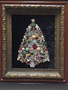 Family vintage jewelry in antique frame.