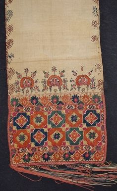 Embroidered end of a 19th century Armenian man's wedding sash (waist band).  Silk embroidery on linen.