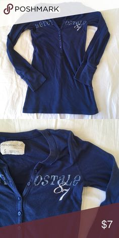 Aeropostale shirt Blue long sleeve Aeropostale shirt. Super soft! Has a lil bit of pilling on the front but it's not that noticeable. Other than that no flaws. 20% off bundles and excepting all reasonable offers Aeropostale Tops Tees - Long Sleeve