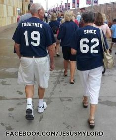 """Couple with complimentary t-shirts """"Together since 1962"""" absolutely adorable"""