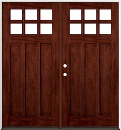 6-Lite Craftsman Mahogany Wood Entry #43 Double Doors