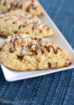 Chocolate Chip Scones with Toasted Coconut- if you love Almond Joy bars, you needs to make these scones!