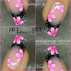 Fingernail Designs, Gel Nail Designs, Cute Nail Designs, Fancy Nails, Cute Nails, Pretty Nails, Nagellack Design, Flower Nail Art, Nagel Gel