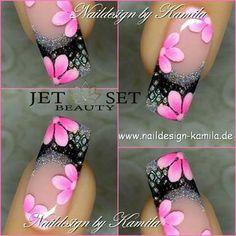 uñas frances negro plata flores color rosa uñas decoradas #damas #uñas #vestidos #dresses #tatuadas #honor Fingernail Designs, Gel Nail Designs, Cute Nail Designs, Fancy Nails, Cute Nails, Pretty Nails, Nagellack Design, Flower Nail Art, Nagel Gel