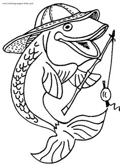 Image result for coloring pages fish and fishing
