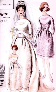 1960 Elegant Brides or Bridesmaid Dress and Jacket Pattern Vogue Special Design 4139 Bell Shape Skirt Wedding Dress Button Back Jacket Stunning Design Bust 31 Vintage Sewing Pattern