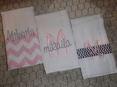 Personalized set of 3 burp cloths by tinyhandsdesigns on Etsy https://www.etsy.com/listing/200536736/personalized-set-of-3-burp-cloths