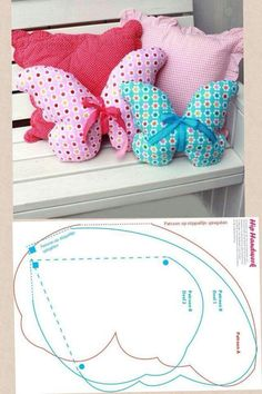 Butterflies...Cute butterfly pillows! These would be pretty in a little girls room!