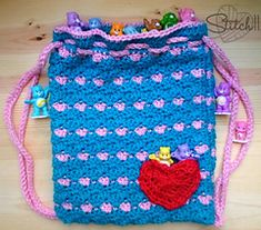 Drawstring Backpack to Care-A-Lot pattern by Corina Gray
