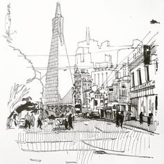 Sketch of Columbus street with Transamerica pyramid as the backdrop ... #streetview #sanfrancisco ... #sketch #drawing #draw #architecture #illustration #sketchbook #moleskine #urbansketch #urbansketchers #ink #linedrawing