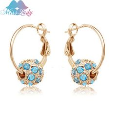 Miss Lady 2017 Gold Plated Rhinestone Crystal Luxury color Round Hoop Earrings Wholesale Fashion Jewelry for women Y4193