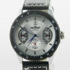 FenyStore New Unisex White Dial Luxury Stainless Mechanical Watch With Black Leather Strap FenyStore. $16.39