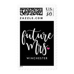 White Script Future Mrs. (name) Postage