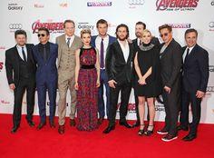 ANDY SERKIS, JEREMY RENNER, PAUL BETTANY, SCARLETT JOHANSSON, CHRIS HEMSWORTH, AARON TAYLOR-JOHNSON, CHRIS EVANS, ELIZABETH OLSEN, ROBERT DOWNEY JR. & MARK RUFFALO The Avengers stars assemble at their Age of Ultron premiere in London.
