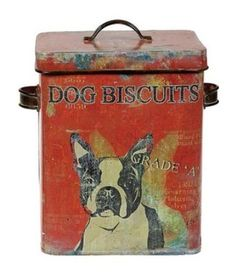 cute vintage look dog biscuits tin