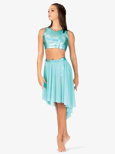 Ingenue Womens Iridescent Waistband Performance High-Low Skirt