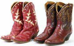 2 pair vintage cowboy boots,
