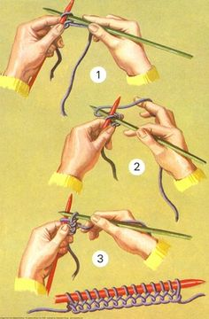"vintage knitting illustration--also proof of the ""lever method', which would explain those perplexing three hour sweaters"