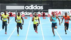 Tyson Gay wins the 100m race at the Adidas Grand Prix in Icahn Stadium, NY 2013