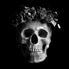 Skull with flower crown .