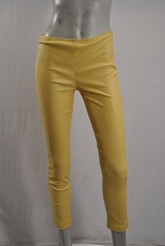 THE ROW Cropped Skinny Pants NEW sz 4 Yellow Soft Leather Zippered Ankles $2,290 #THEROW #Leather