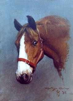 """Horse portrait """"oil on canvas"""" 40 x 54 cm.  www.ortegaavila.com"""