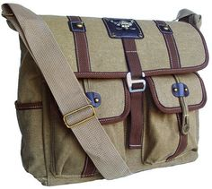 Military Inspired Khaki Green Canvas Messenger Bag Laptop Bookbag Backpack:Amazon:Sports & Outdoors