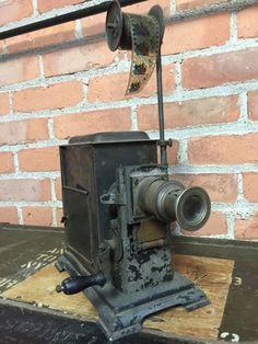 Antique Magic Lantern Projector Candlelight w Antique Film Strip | eBay