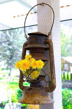 Miner's Lantern Flower Holder
