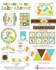 Dinosaur Baby Shower Decorations Printable by stockberrystudio Regalo Baby Shower, Baby Shower Invitaciones, Baby Shower Niño, Baby Shower Games, Baby Shower Parties, Shower Party, Man Shower, Baby Showers, Die Dinos Baby