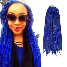 Box Braids Twist Braids Blue Hair Braids 24Inch Kanekalon 90g Synthetic Hair Extensions - NZD $ 8.80