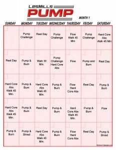 Les Mills Pump Workout Schedule print out Grit Workout, Body Pump Workout, Workout Calendar, Workout Schedule, Insanity Workout, Workout Routines, Workout Ideas, Fit Board Workouts, At Home Workouts
