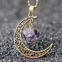 Sedmart Antique Bronze Beads Chain Original Rock Moon Charms Natural Amethyst Pendant Necklace