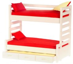 Dollhouse Miniature Kid's Triple Trundle Bunk Bed Bedroom Furniture Child's New