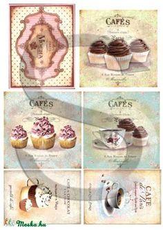 Vintage sorozat: Cafe de Paris, Papír, Decoupage papír, A 4-s méretű rizsnyomat, vékony 20 gr-s rizspapíron, découpage technikához. Az eredeti nyomato..., Alkotók boltja