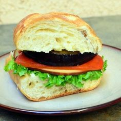 Eggplant Roasted Pepper Sandwich by onionringsandthings